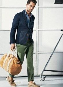 Зелёные брюки чинос