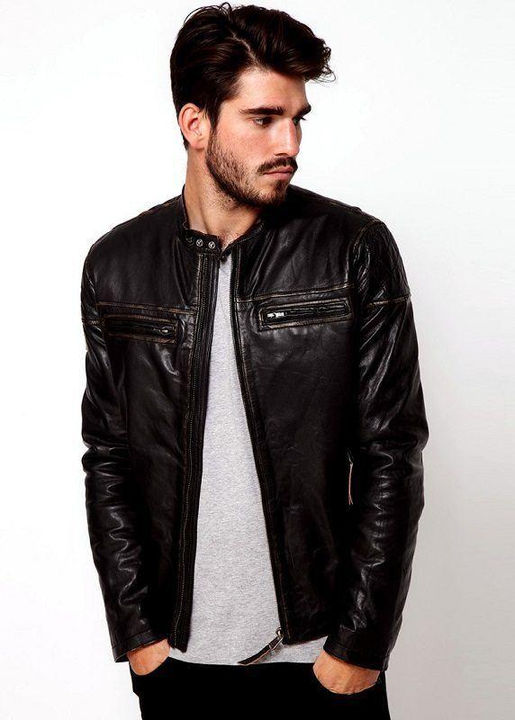 Кожаная куртка в стиле Casual