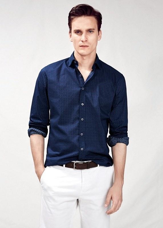 Синяя casual рубашка