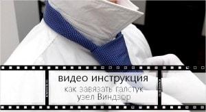 Видео инструкция как завязать галстук узлом Виндзор(миниатюра)