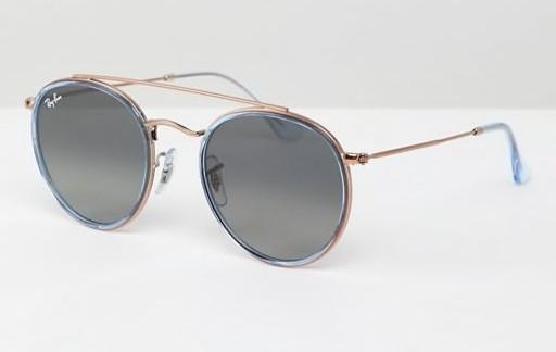 Круглые солнцезащитные очки с двойной планкой Ray-Ban