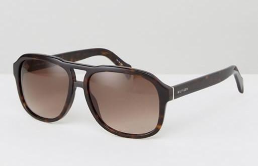 Черепаховые солнцезащитные очки-авиаторы Tommy Hilfiger