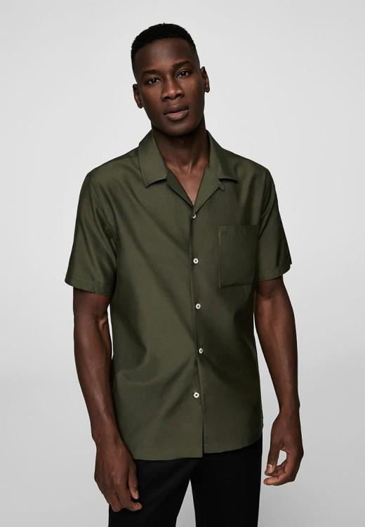 Рубашка из смеси хлопка и шелка Mango Man