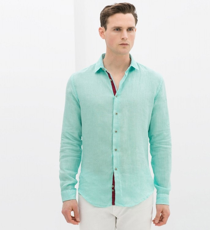 Мужская льняная рубашка голубого цвета