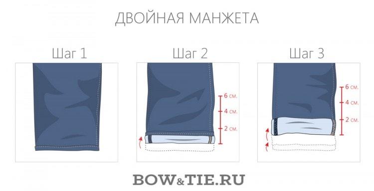Как подворачивать двойную манжету на джинсах
