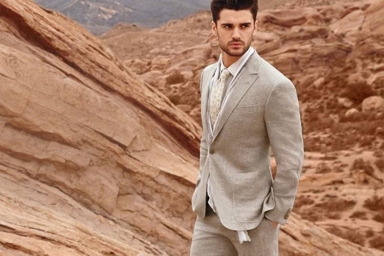 Мужской летний классический костюм из льна