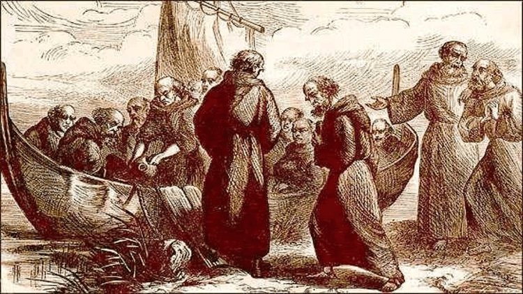 Ирландские монахи на берегу