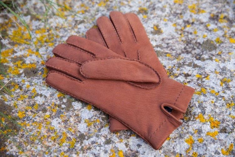 Красные мужские перчатки из овечьей шерсти и кашемира