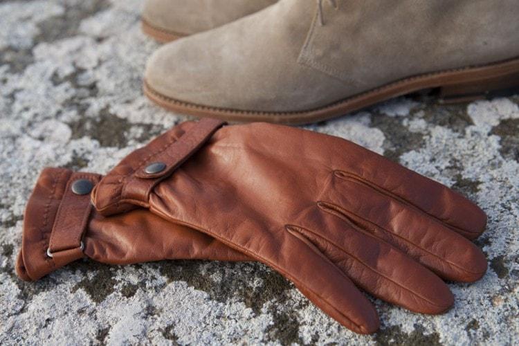 Мужские оранжевые перчатки из кожи ягненка