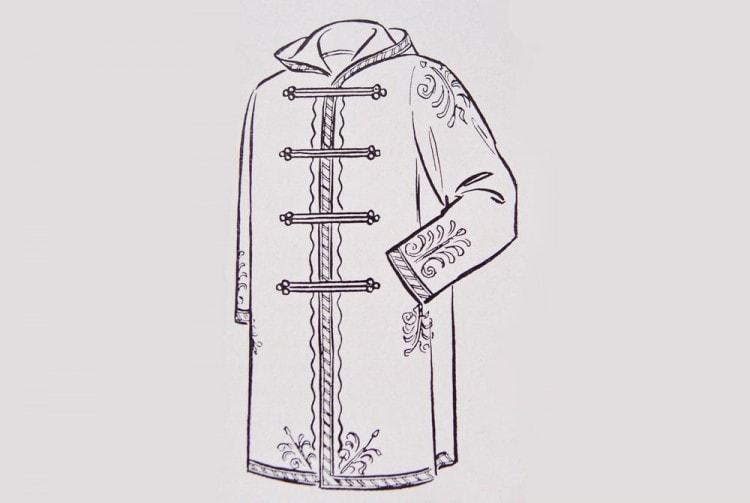 Польский сюртук примерно 1850 года - предшественник Дафлкота с горизонтальным рядом пугович и капюшоном