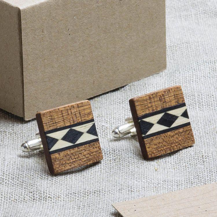 Деревянные запонки-оригинальный подарок на 23 февраля мужчине