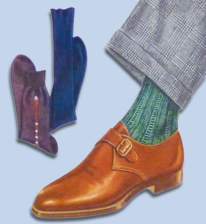 Зеленые носки будут отлично смотреться с коричневыми монками и брюками в рисунок гленчек