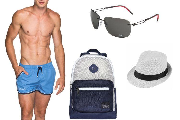 Плавки, очки, шляпа и очки - основная часть пляжного лука