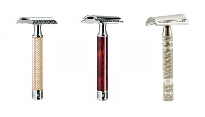Классические Т-образные станки обеспечивают наилучшее качество бритья (слева - open comb, посередине - closed comb, справа - slant bar)
