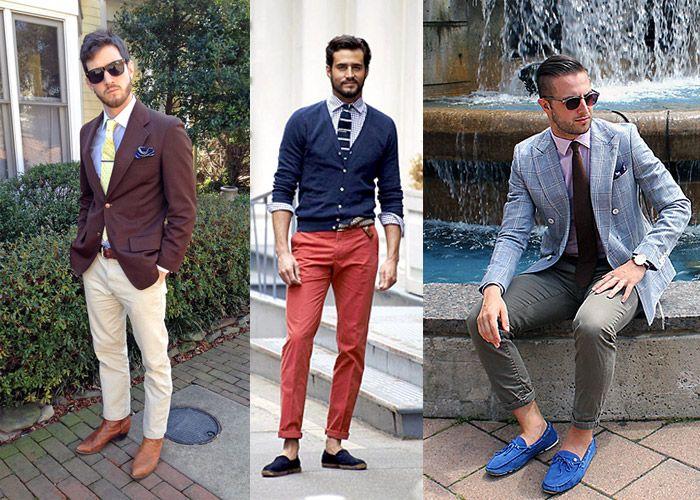 Варианты комплектов в стиле business casual с участием брюк чинос