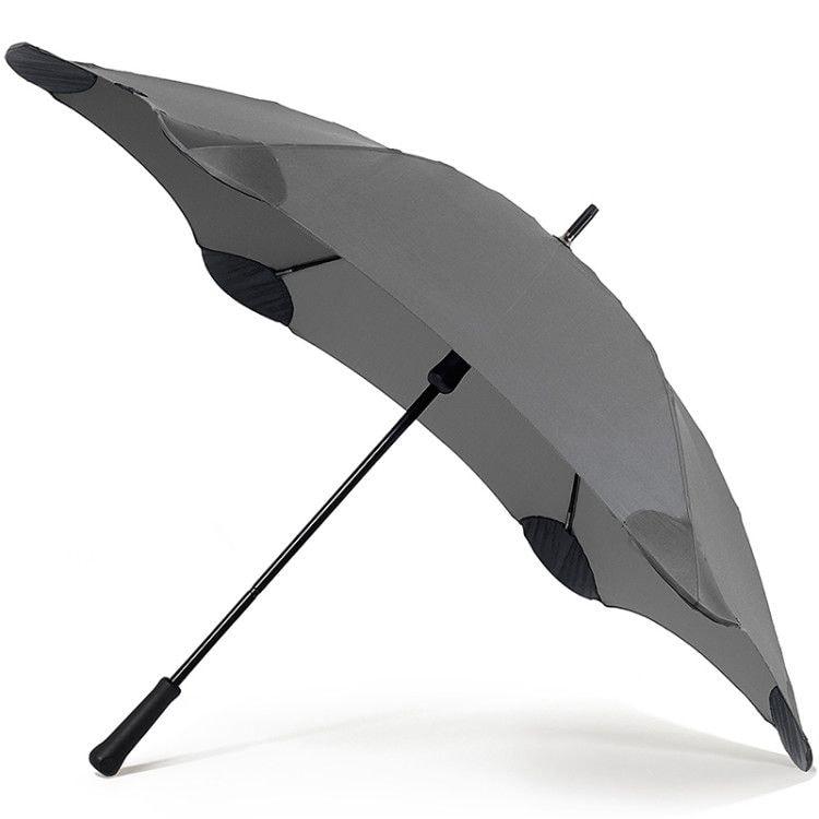 Механический мужской зонт серого цвета с усиленным креплением купола к спицам
