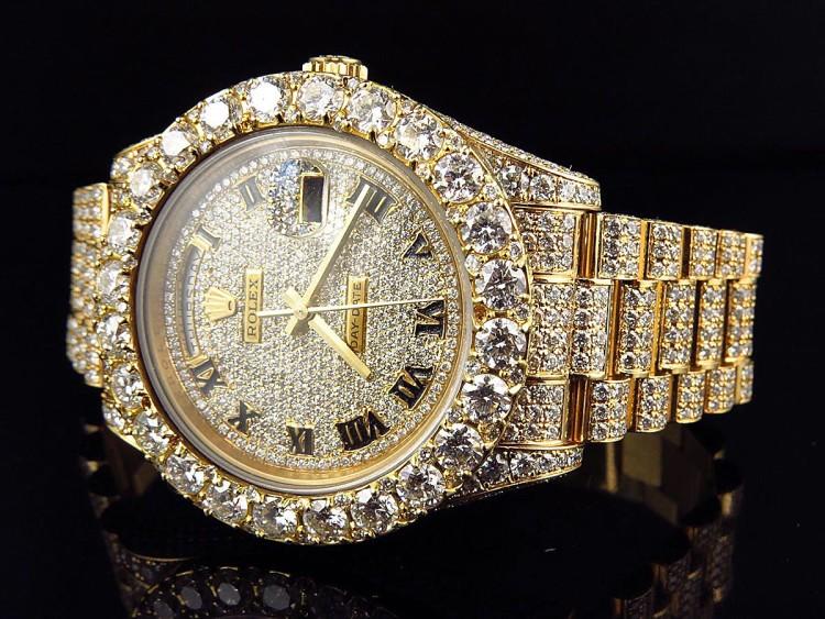 Роскошные мужские золотые часы с бриллиантами Rolex 18k Gold Day Date President Diamond - для многих являются аксессуаром-мечтой