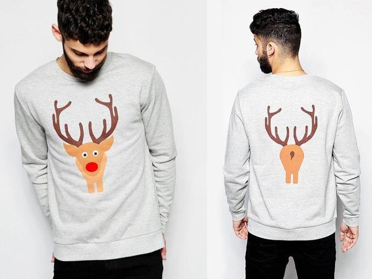Такой свитшот с оленями можно носить осенью, зимой и весной