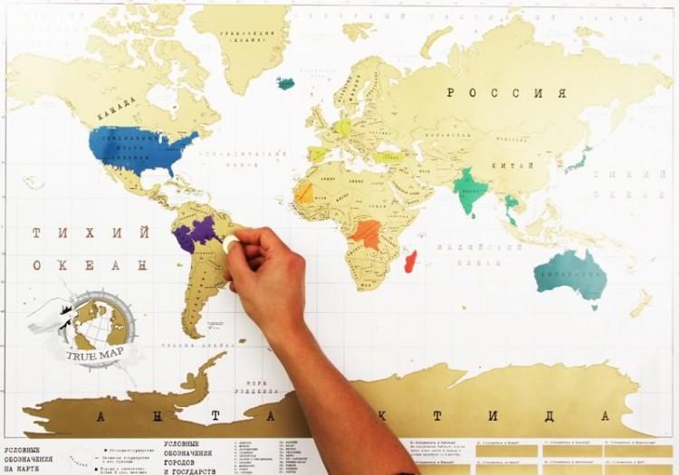 Карта мира, на которой можно стирать монеткой верхний слой, отмечая страны, которые ты посетил.