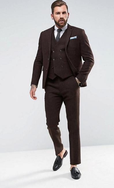 Коричневый твидовый костюм ASOS