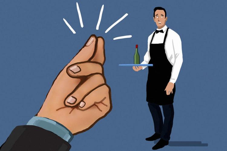 Не щелкайте пальцами, чтобы подозвать официанта к себе. Это грубо и не этично
