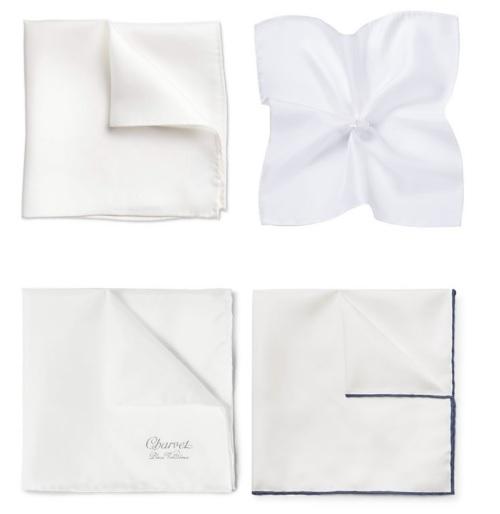 Белый платок будет наиболее уместен под черный галстук или как акцент к темно-синему пиджаку