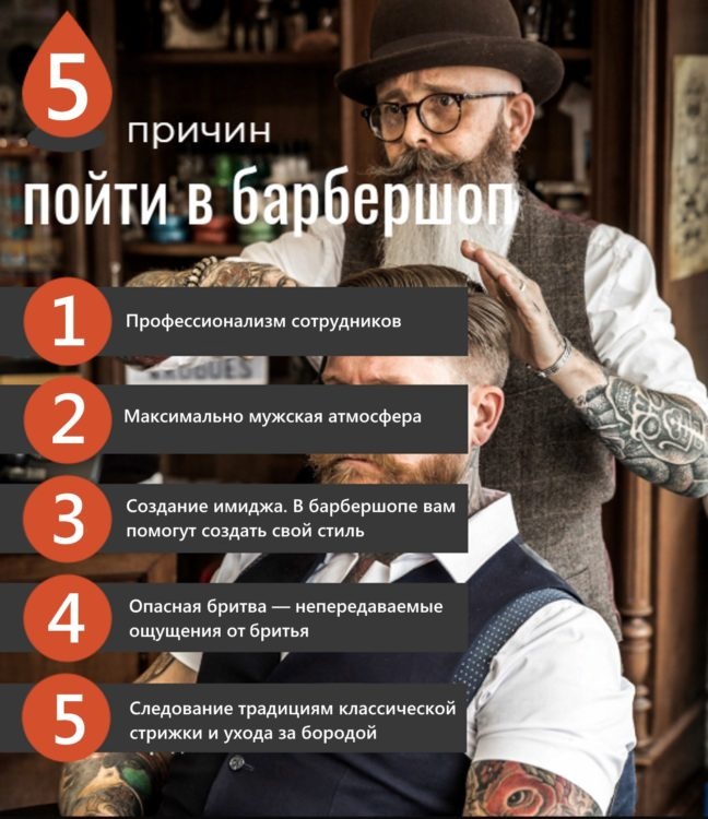 Инфографика 5 причин пойти в барбершоп от bowandtie