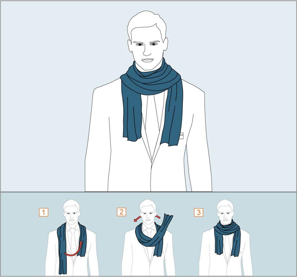 Как завязать шарф обернув один раз - схема