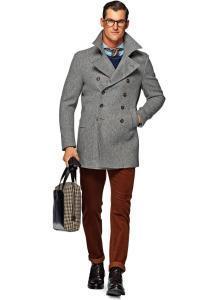 Мужское двубортное пальто серого цвета