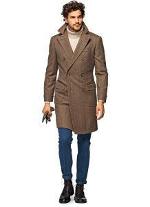 Мужское однобортное пальто коричневого цвета