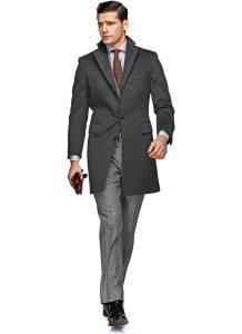 Мужское однобортное пальто серого цвета