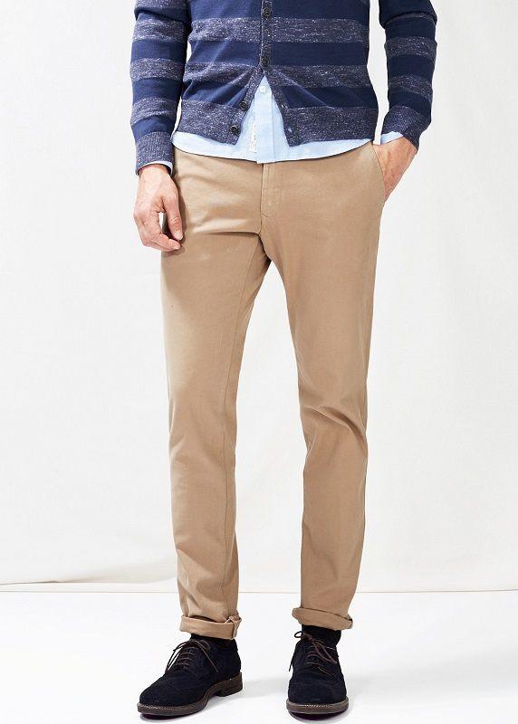 Бежевые casual брюки чинос