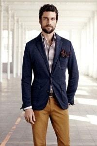 Хлопчатобумажный спортивный пиджак и клетчатая рубашка