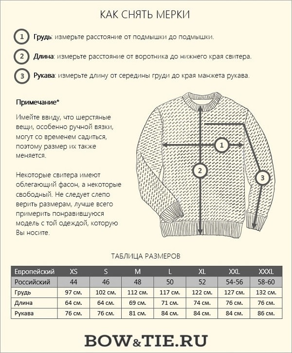 Как снять мерки свитера