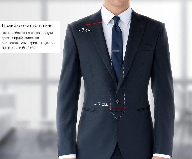Ширина галстука и лацканов пиджака
