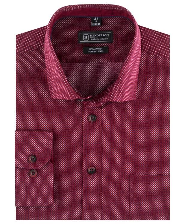 Бордово-красная рубашка с микро-орнаментом