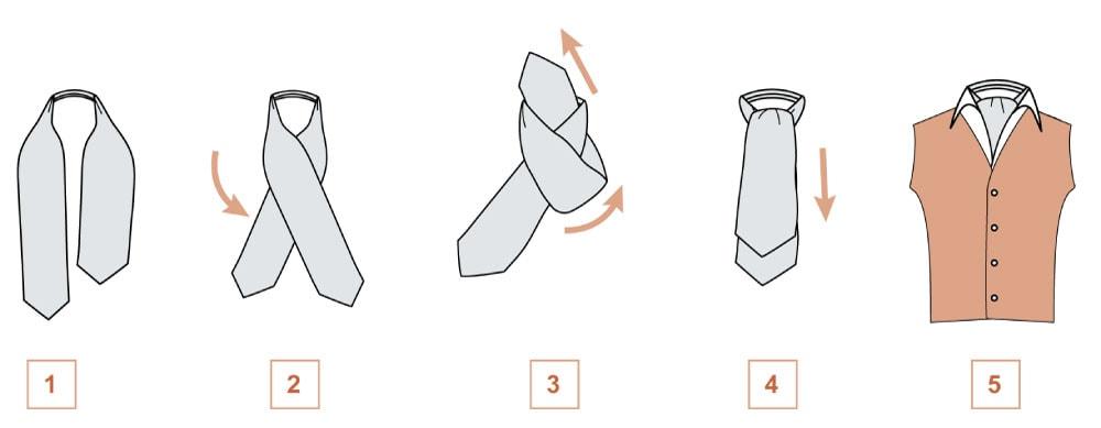 Завязываем мужской платок в casual стиле узел Аскот (схема 2)
