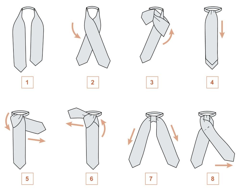 Завязываем шейный платок в классическом деловом стиле (схема 1)