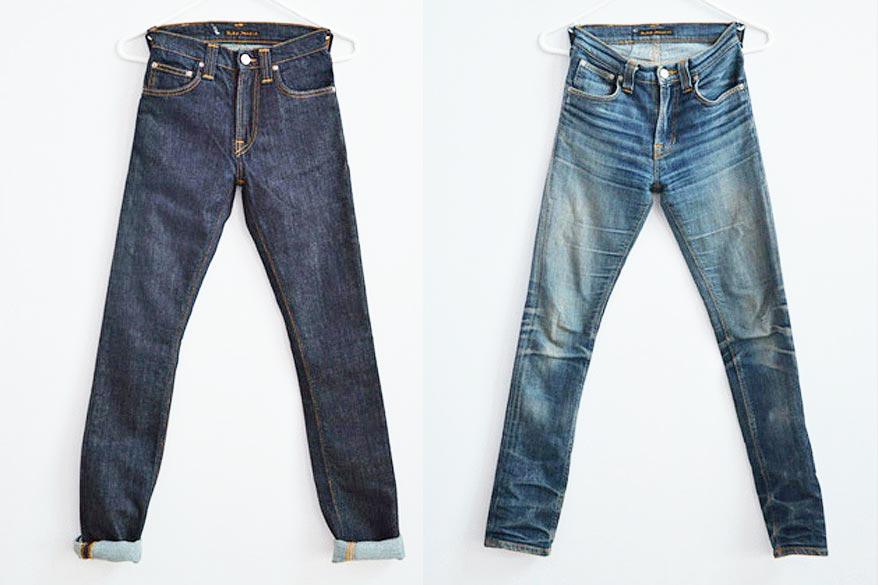 Сухие и стиранные джинсы
