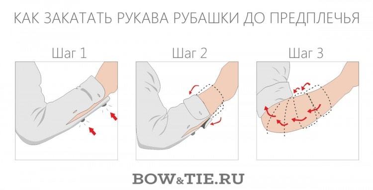 Как закатать рукава рубашки до предплечья