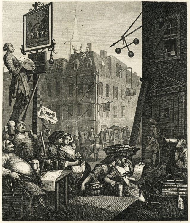 Пивная улица - Beer Street - гравюра художника Уильяма Хогарта - 1751 год