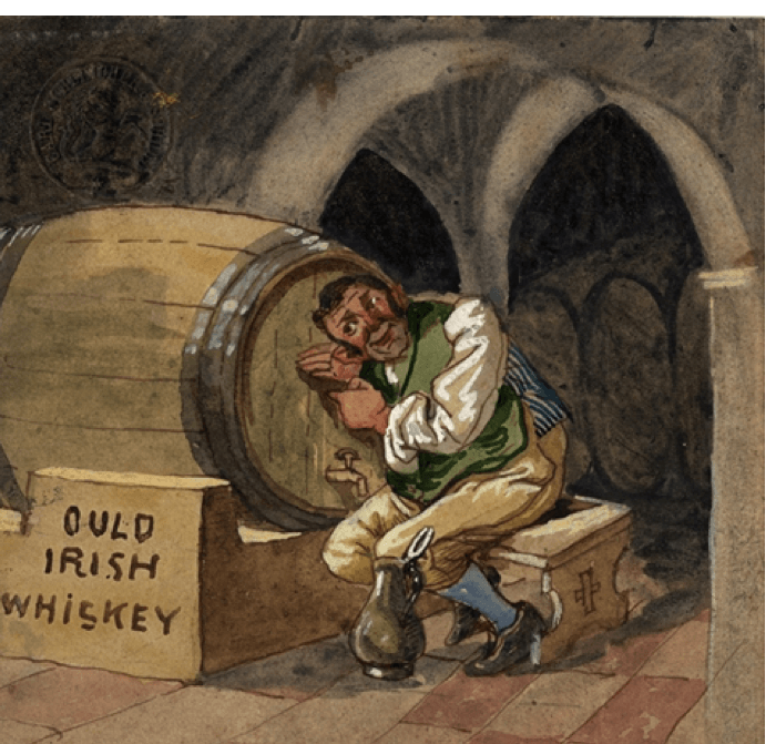 Картина Рудольфа Бохенека, с изображением человека и бочки виски, под названием «Виски Уальд Ирландский»