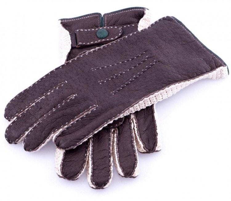 Мужские коричневые перчатки из кожи пекаря