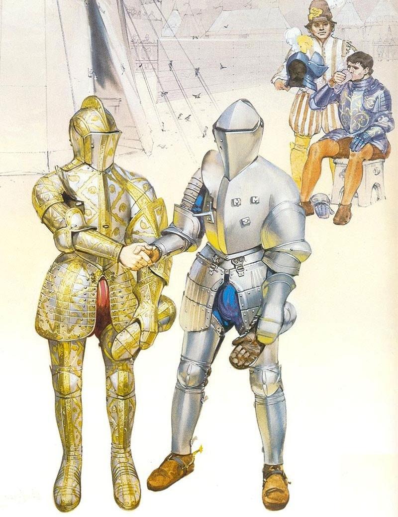 Рукопожатие у рыцарей - жест уважения на рыцарских турнирах