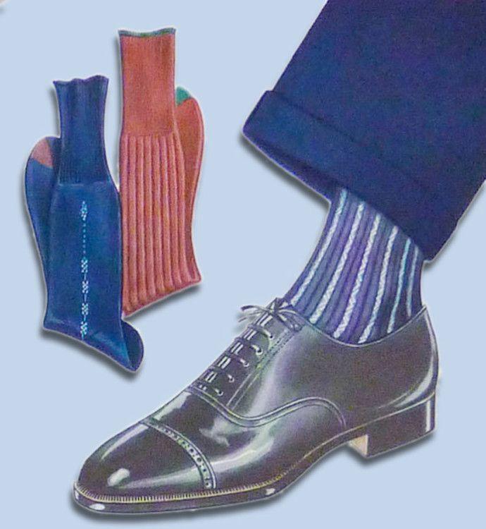 Черные оксфорды хорошо сочетаются с темно-синим костюмом и полосатыми носками синего или бордового цветов