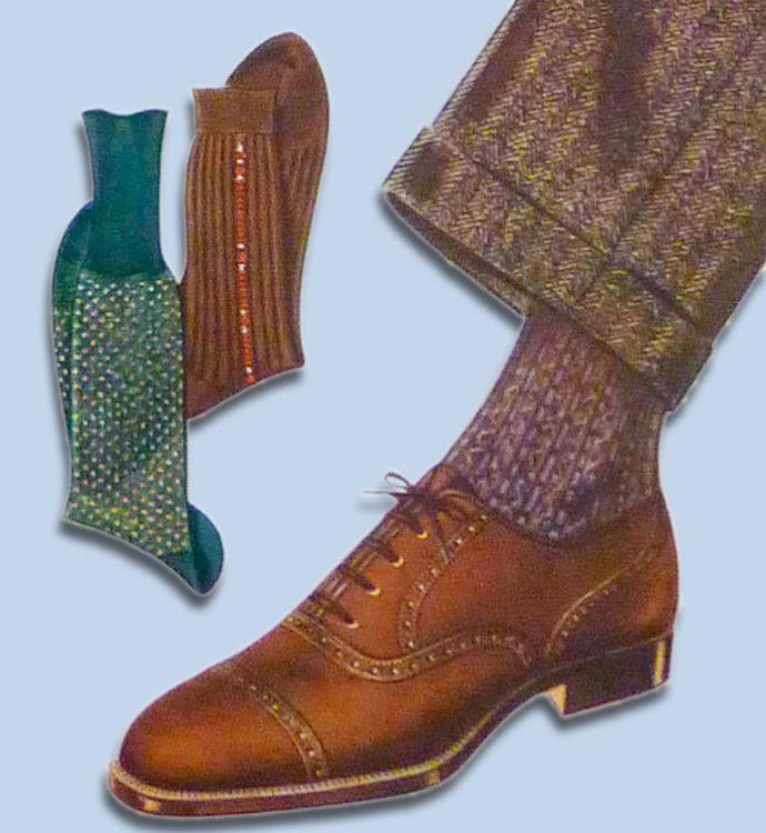 Коричневые броги отлично сочетаются с шерстяными брюками в елочку и шерстяными носками в мелкий рисунок