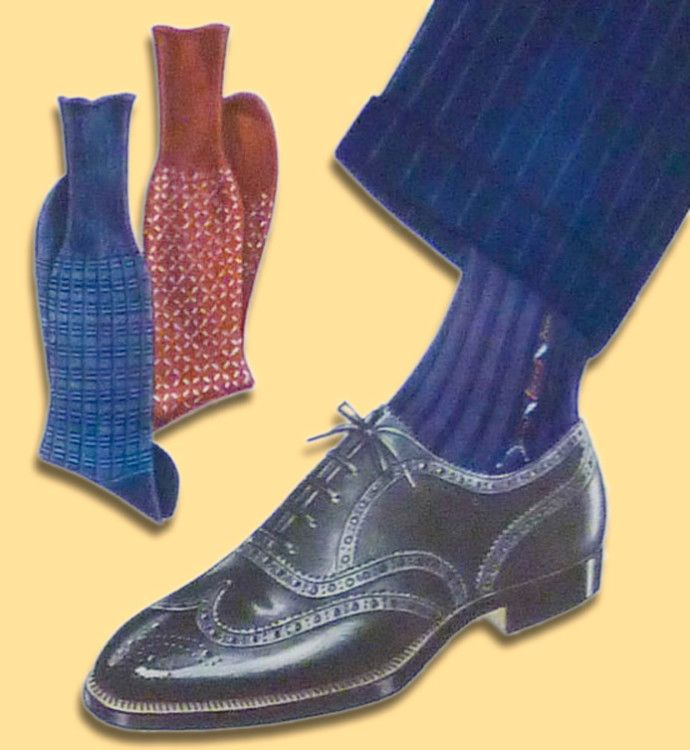 Тёмно-синие полосатые носки в контрастных цветах отлично подойдут к черным оксфордам