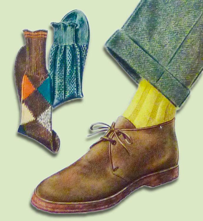 Желтые носки хорошо сочетаются с бежевой обувью и зелеными брюками