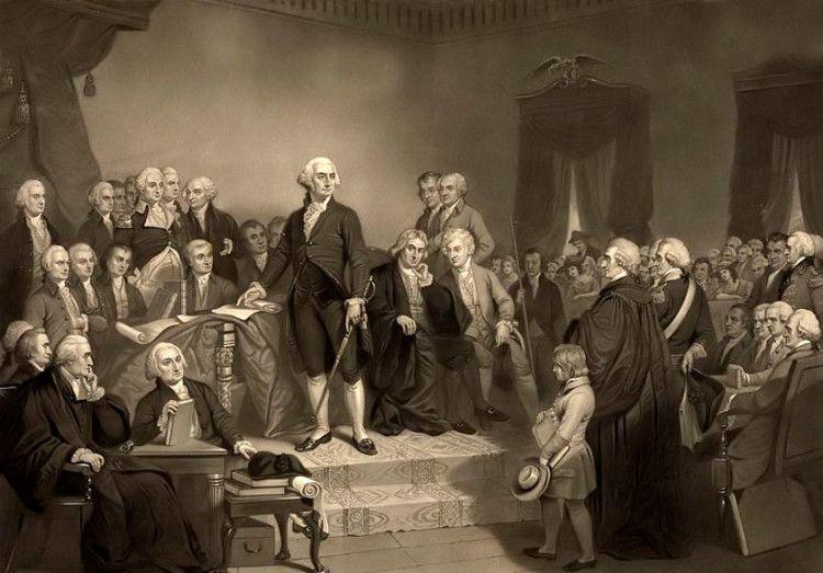 Джордж Вашингтон с семьей