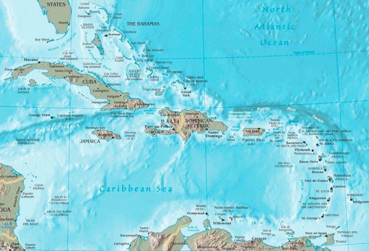 Карибский бассейн - карта